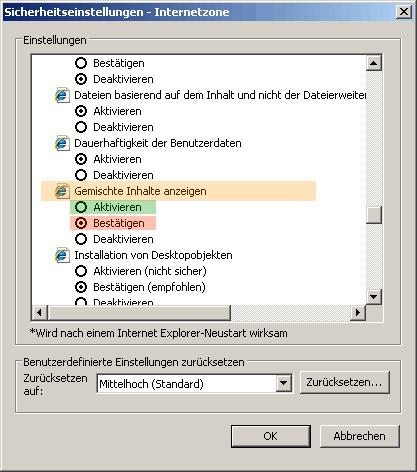 InternetExplorer - Sicherheitseinstellung