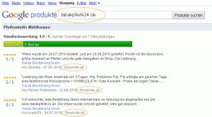 Auszug Google-Produkte am Beispiel von tabakpfeife24.de